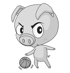 Pig and basketball vector image vector image