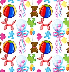 Seamless background with balloons and teddy bear vector