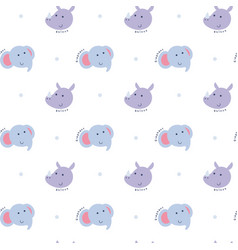 seamless pattern with elephant and rhino vector image vector image
