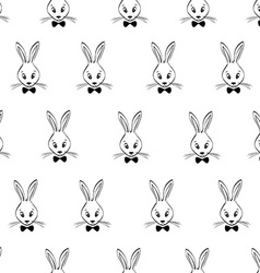 Seamless Pattern With Rabbits Faces vector image