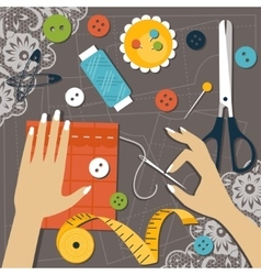 Sewing flat vector