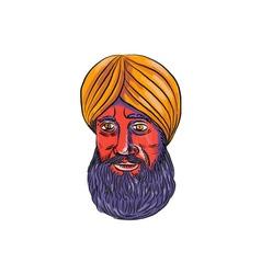 Sikh turban beard watercolor vector