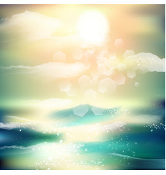 Spring and summer watercolor ocean background vector