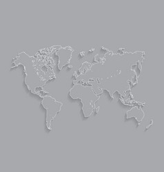 Stroke white world map vector
