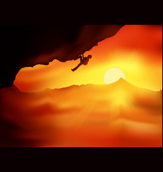 sunset climber vector image
