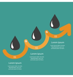 Timeline infographic oil drop sign icon three step vector