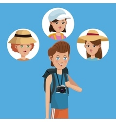 Traveler boy tourist with camera photo girls vector