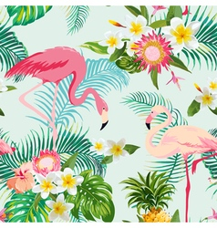 Tropical flowers and birds background vintage vector
