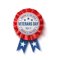 Veterans day badge realistic patriotic award vector