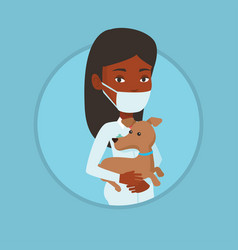 veterinarian with dog in hands vector image vector image