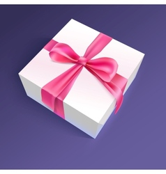 White gift box with red ribbon and bow vector image vector image