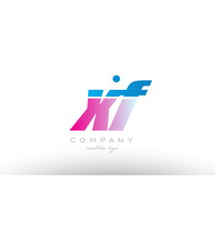 Xf x f alphabet letter combination pink blue bold vector