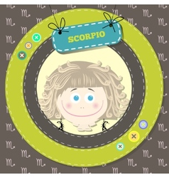 Zodiac signs collection Cute horoscope - SCORPIO vector image vector image