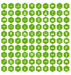 100 target icons hexagon green vector