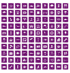 100 umbrella icons set grunge purple vector