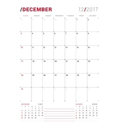 December 2017 print template monthly vector