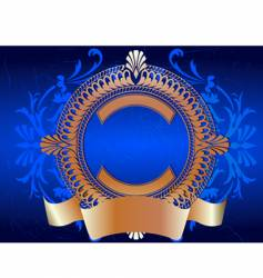 Golden ornate banner on blue vector
