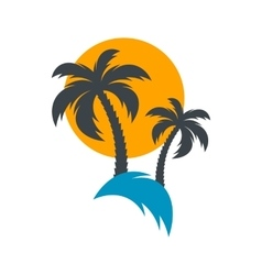 Sun and palm trees vector