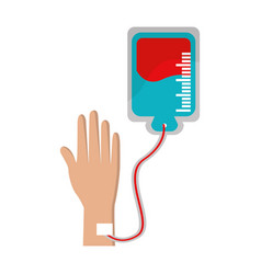 Hand donating blood to help people vector