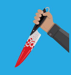 Hand holding a bloody knife vector