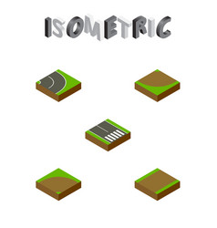 Isometric road set of footpath pedestrian sand vector