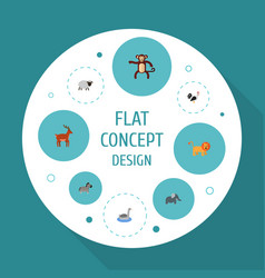 Flat icons waterbird moose horse and other vector