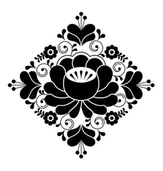 russian folk design - floral pattern black and wh vector image