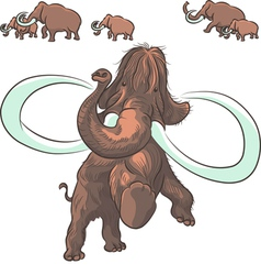 Herd of mammoths isolated on white background vector