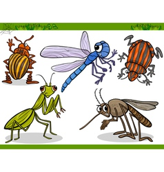 Happy insects set cartoon vector