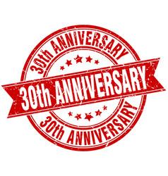 30th anniversary round grunge ribbon stamp vector