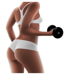 Athletic woman with dumbbells vector
