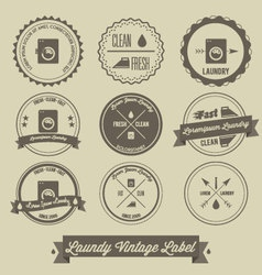 Laundry business vintage label vector