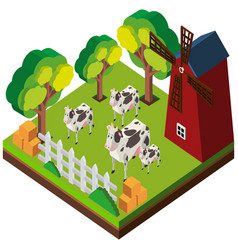 3d design for cows in the farm vector image