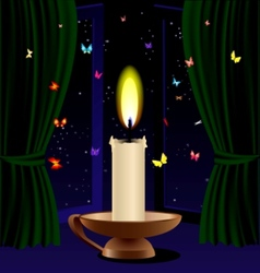 Candle and butterfly vector