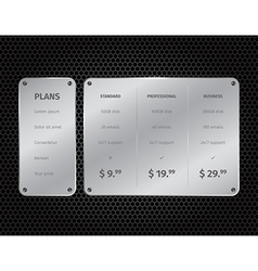 Silver modern pricing table with on dark vector