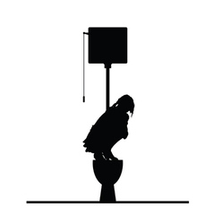 Woman on toilet silhouette vector
