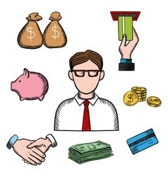 Banking business and financial icons vector
