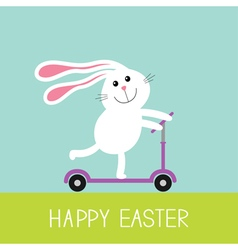 Happy easter cute cartoon rabbit hare riding a vector