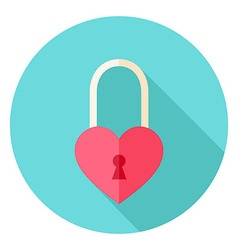 Heart shaped padlock circle icon vector