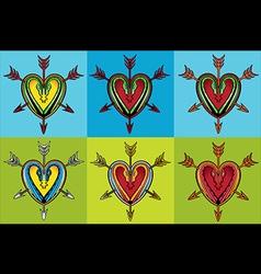 heart shape snake body silhouettes arrow design vector image