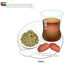 Gahwa coffee popular dink in united arab emirates vector