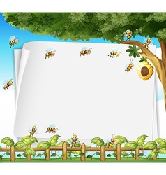 Paper design with bees and beehive vector image