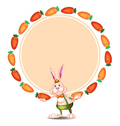 A round template with a bunny and carrots vector image vector image