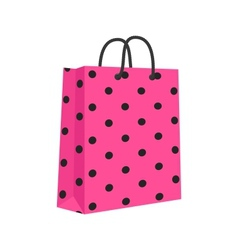 Blank Paper Shopping Bag With Rope Handles Pink vector image