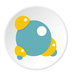 Blue molecule icon circle vector