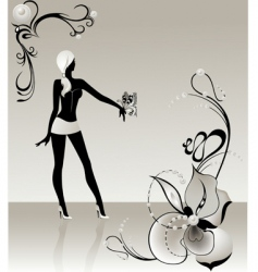 butterfly girl vector image