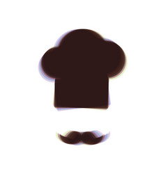 Chef hat and moustache sign colorful icon vector