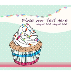 cute birthday card with cupcake vector image vector image