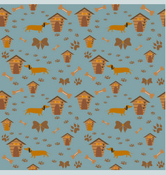 Cute pattern with dog dog paws and dog houses vector