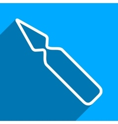 Empty ampoule flat square icon with long shadow vector